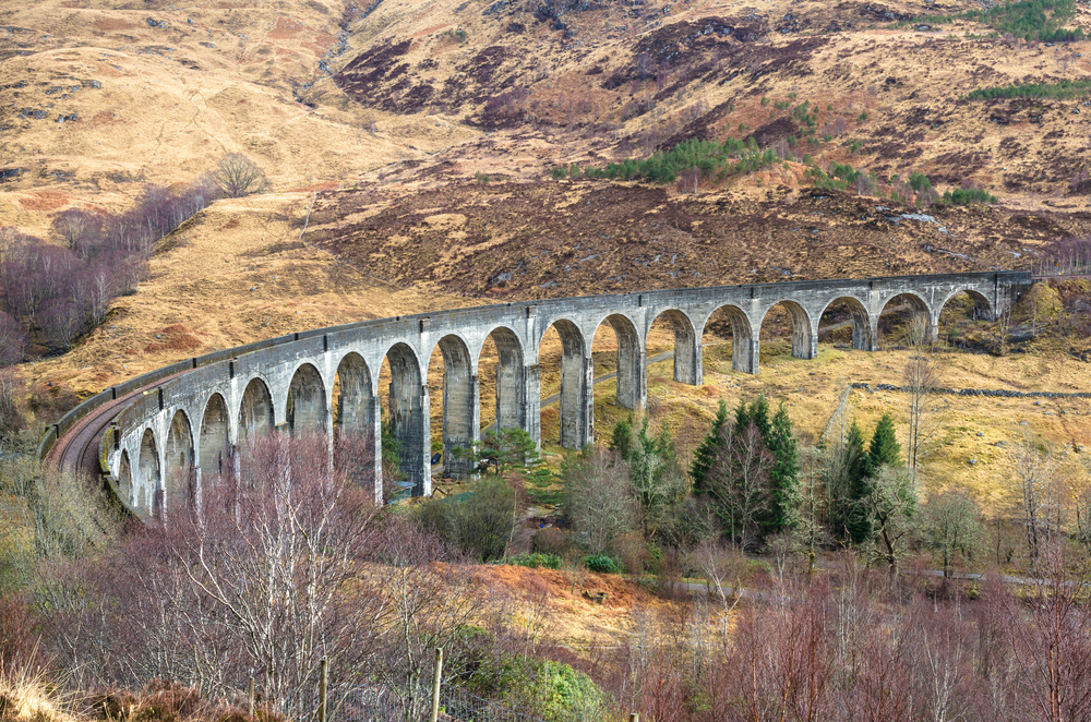 One of Scotland's best known bits of architecture is the Glenfinnan Viaduct, a 21-arch railrway bridge built of mass concrete by Robert McAlpine and Sons in 1898.