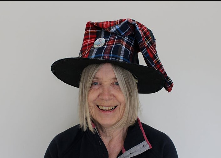 "Retired teacher and now author of ""The Tartan Witch"" and other works, Greta Yorke."