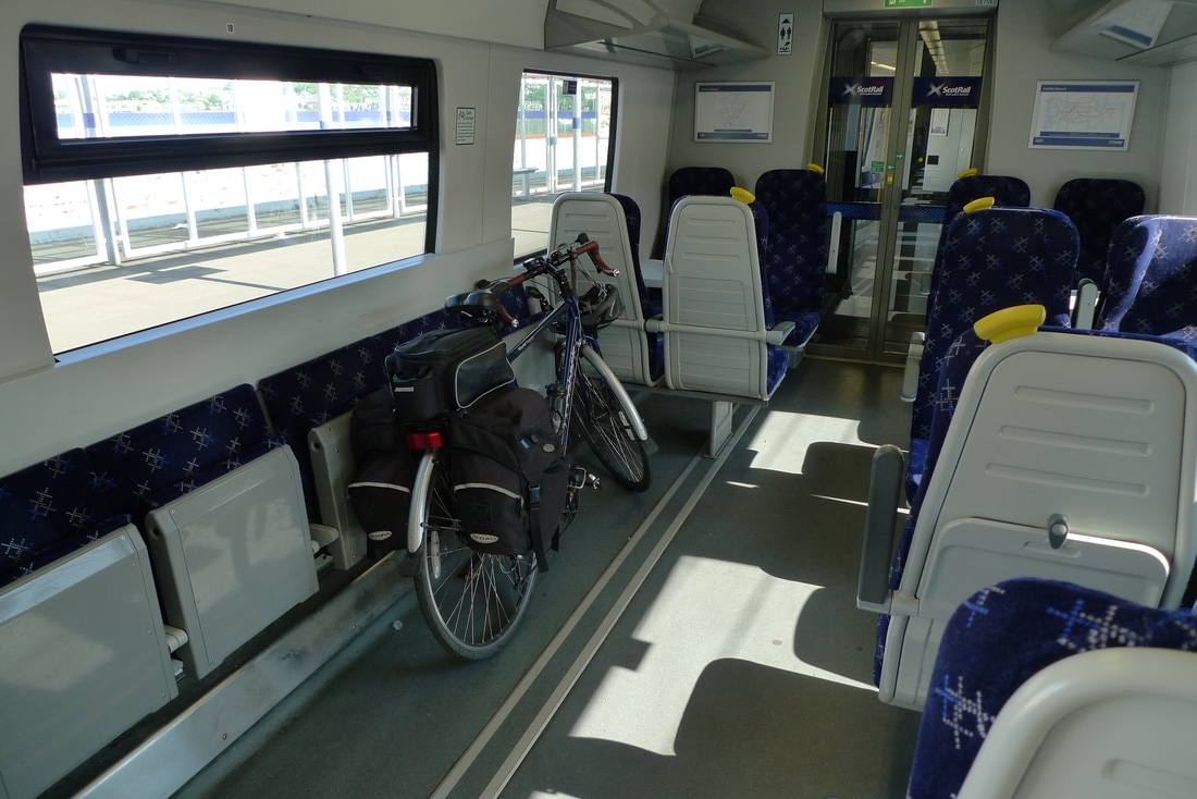 Cycle storage area on a class 380 train. Courtesy The Cycling Scot