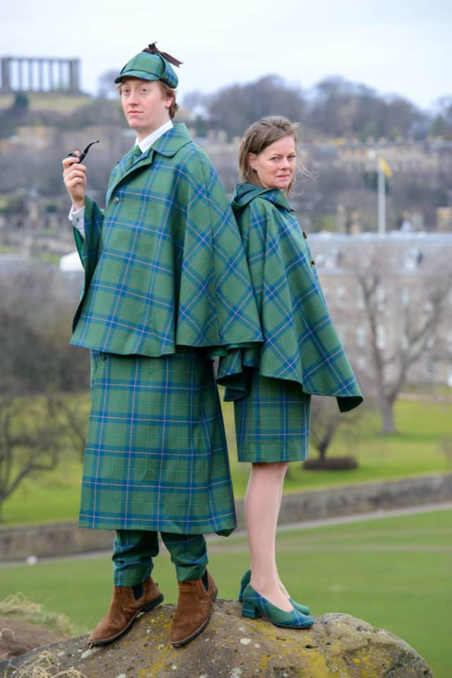 Sir Arthur's great-great step-grandaughter, Tania Henzell and her son modeling the new Sherlock Holmes Tartan she designed in association with the House of Edgar in Perth, Scotland.