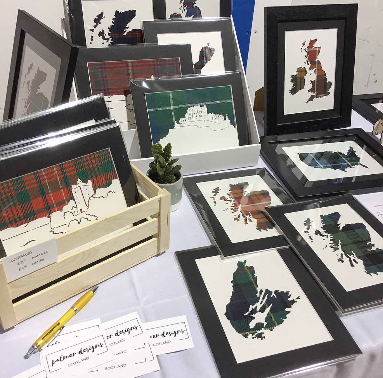 Palmer's tartan art, or home decor, is geographically themed with no limit on locations worldwide, whether that be a map outline, or an iconic Scottish castle and the variety of tartans is almost endless.