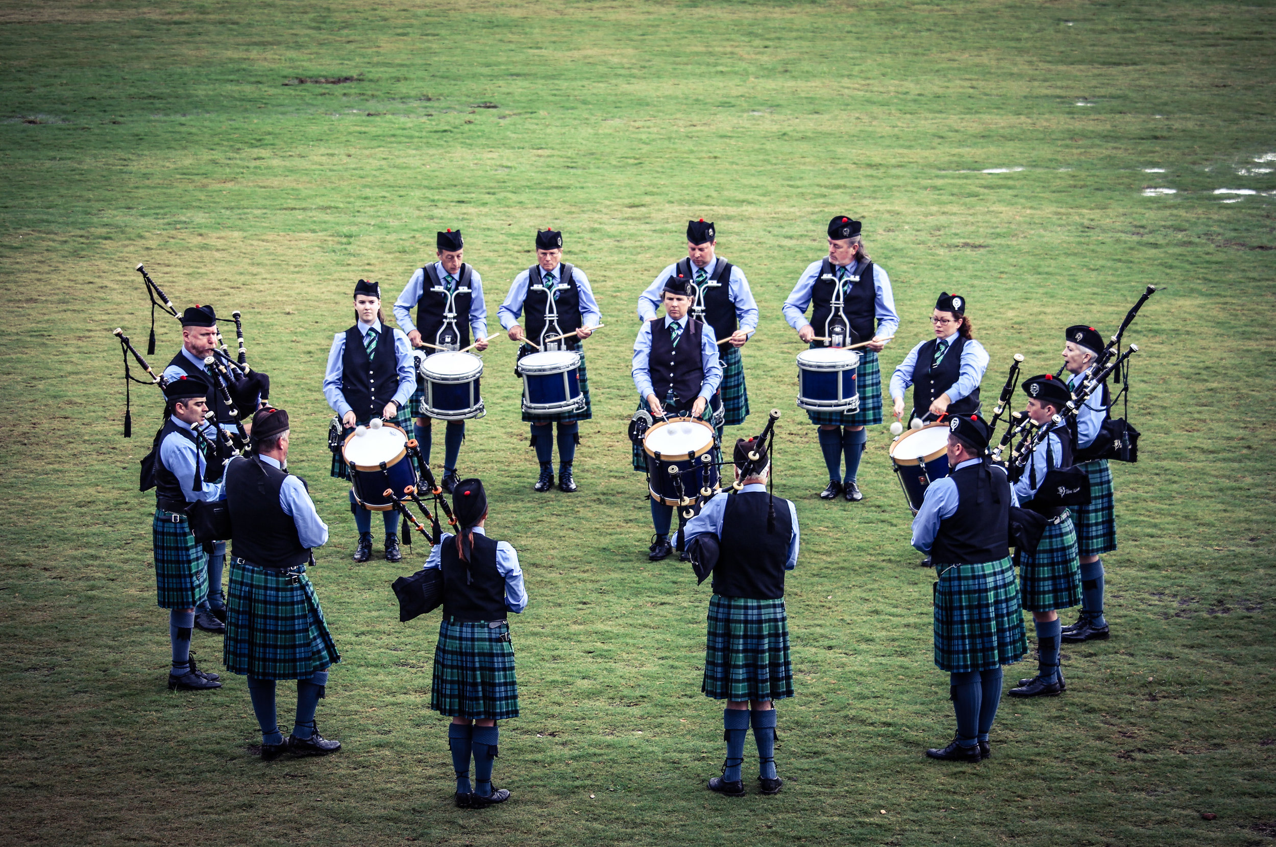 "While pipe bands often march in parades and other functions, in competition they perform in what is known simply as ""the circle."""
