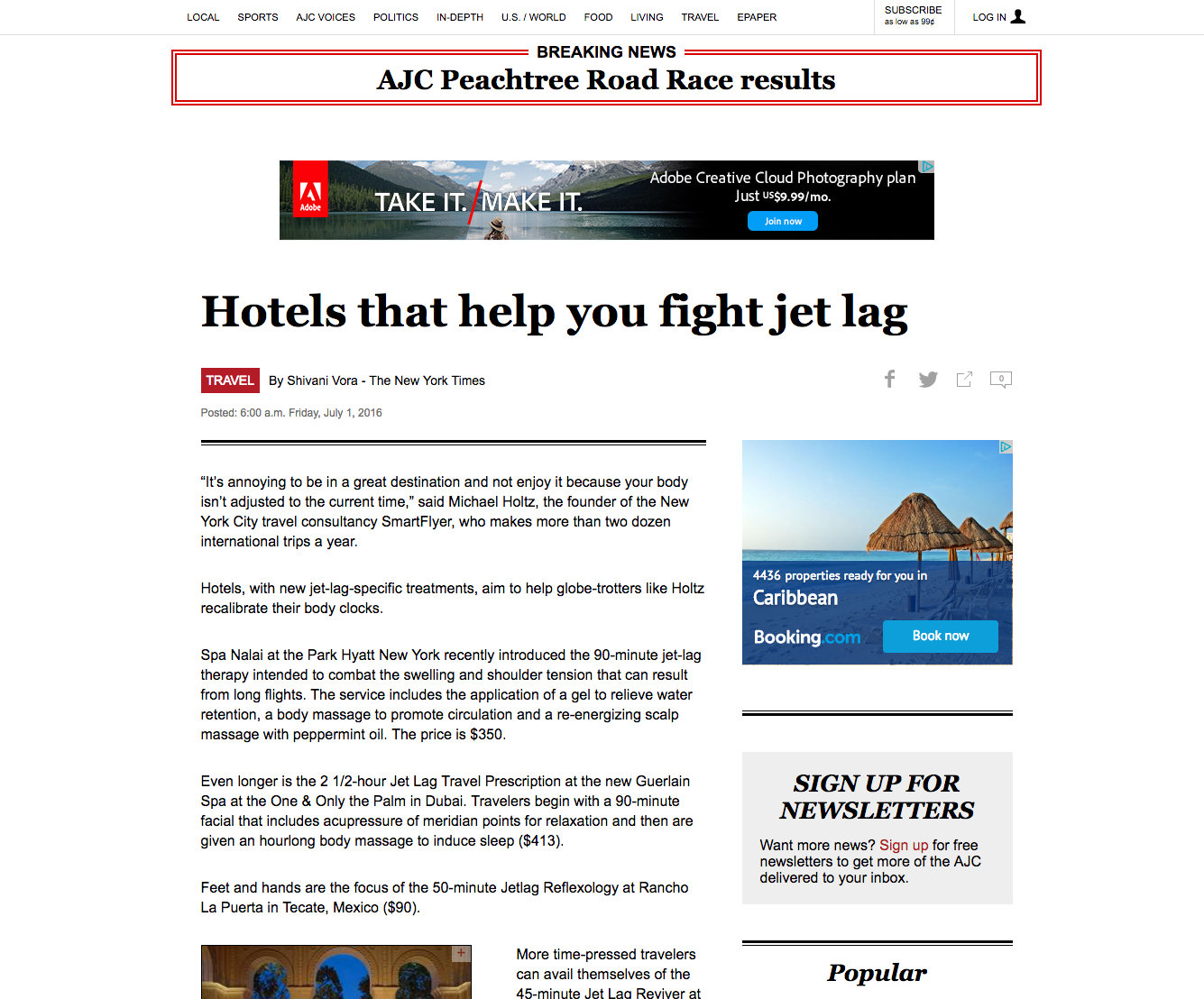 ATLANTA JOURNAL CONSTITUTION / TRAVEL  Section