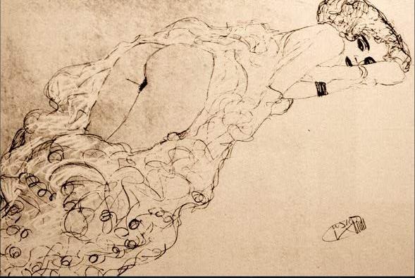 A semi nude drawing by Gustav Klimt.