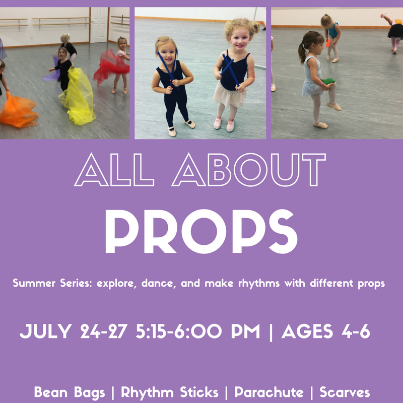 ean bags, scarves, rhythm sticks, the parachute and more! This class is all about exploring movement with props... one of the most loved parts of dance class, now in one summer series!   -->Only 12 spots available<--