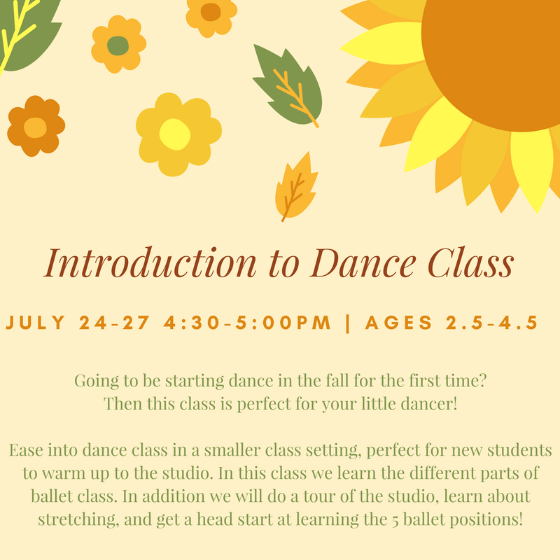 This class is perfect for  pre-school students  starting dance in the fall for the first time!We will get to know the classroom, the studio, and basic structure of dance class, so when the fall comes Intro dancers will feel confident and be ready to dance their hearts out.