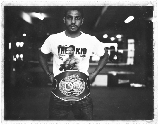 """A polaroid taken at the end of a shoot with World Featherweight Champion Billy 'The Kid"""" Dib in his gym in Sydney"""