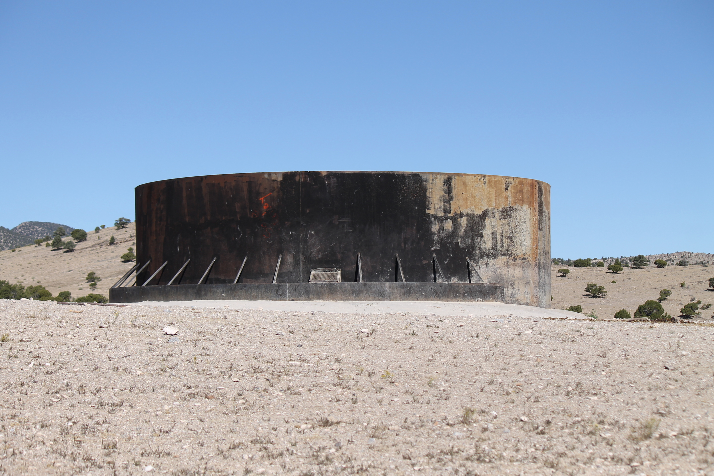 The water tank west of the Halfway Hills