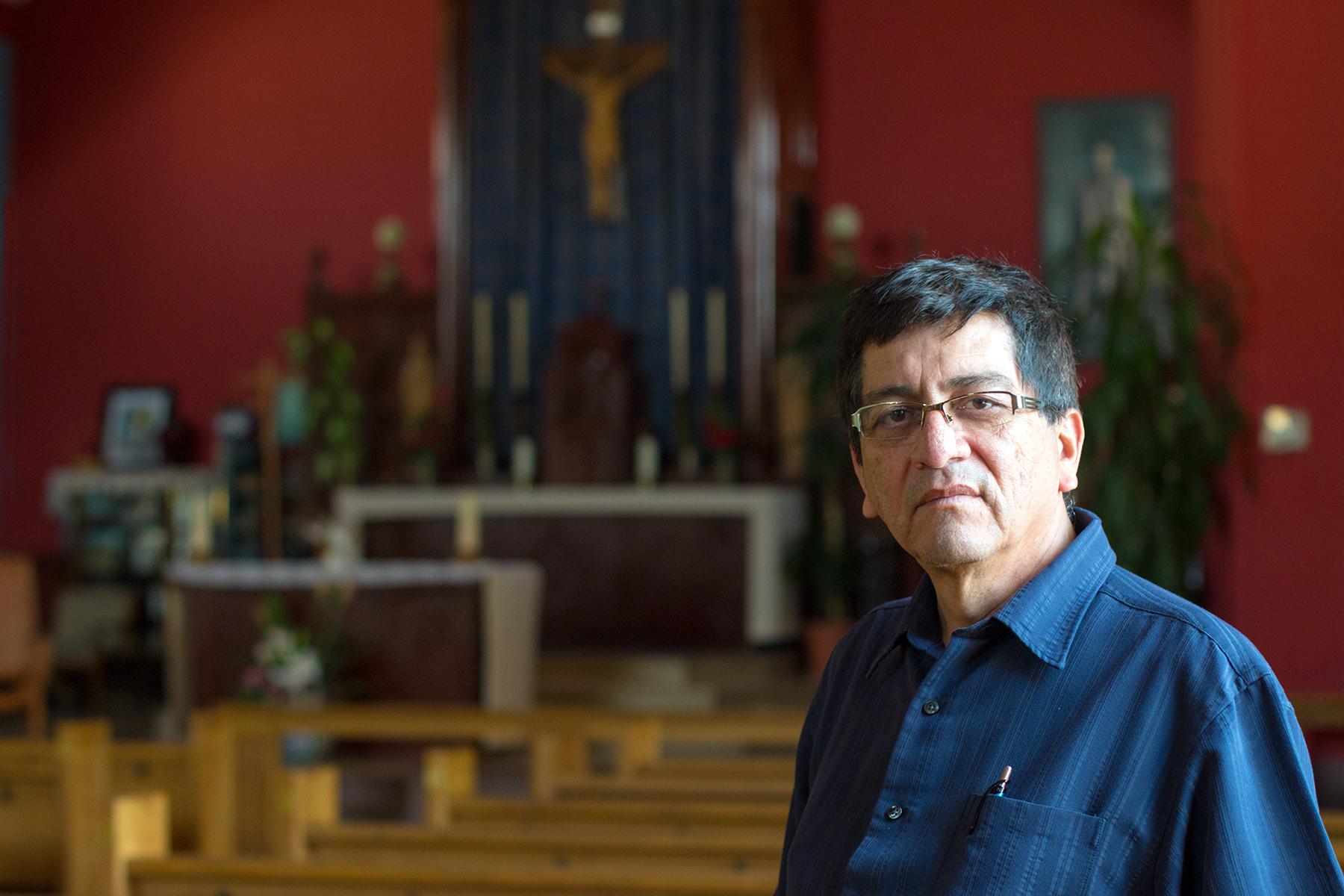 Miguel in the St-Rita Scalabrini church, 655 Sauriol Street East
