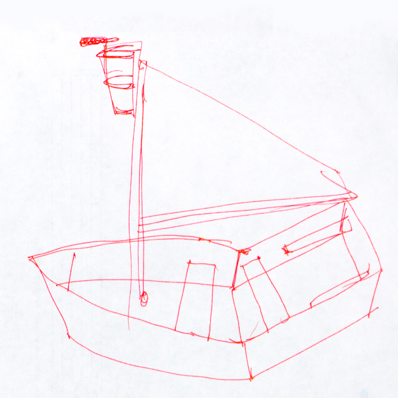 Île de Montréal.Première ébauche, stylo sur papier bond.