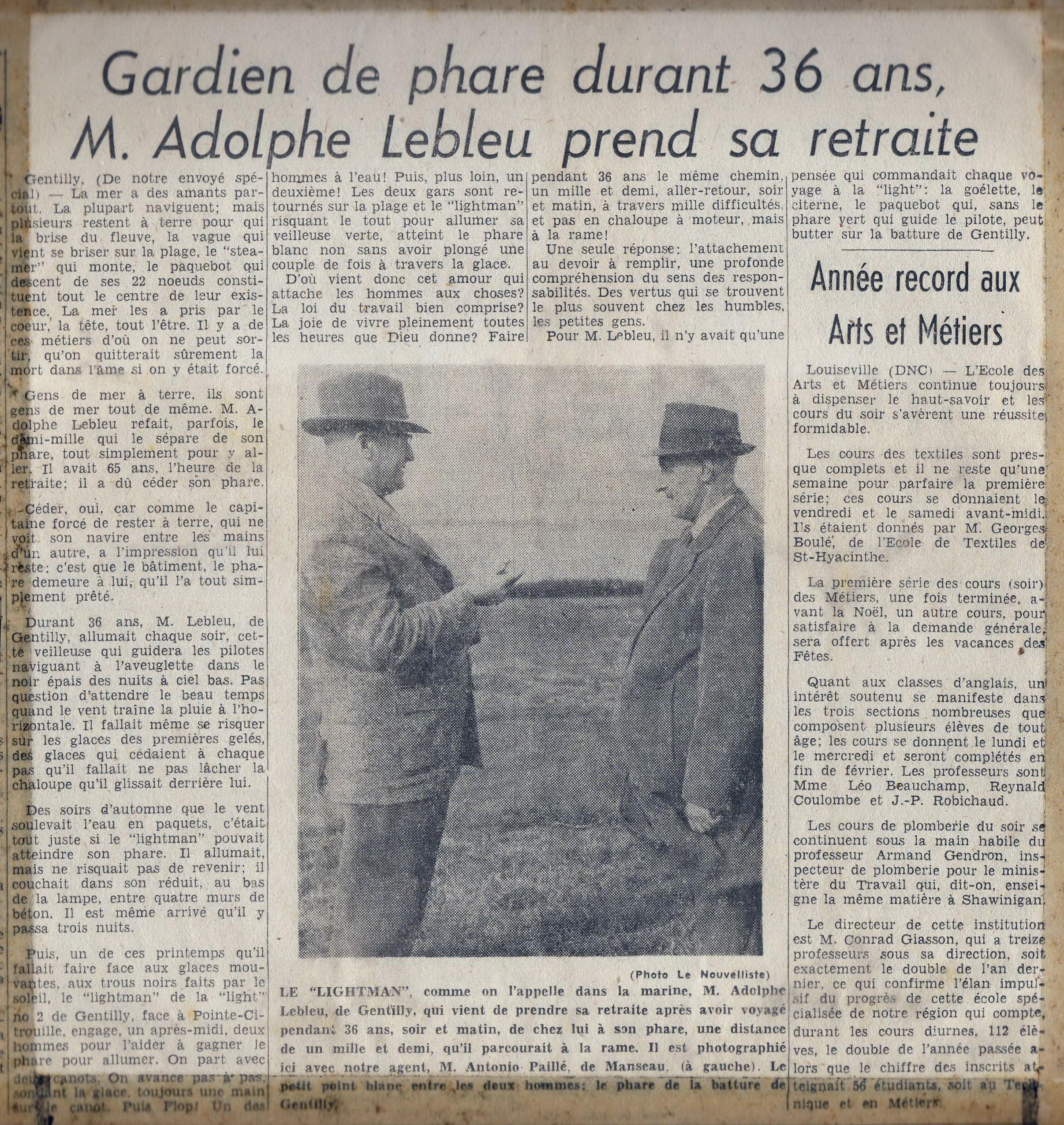 La véritable histoire d'Adolphe Lebleu. Article du journal Le Nouvelliste (Trois-Rivières, date indéterminée)