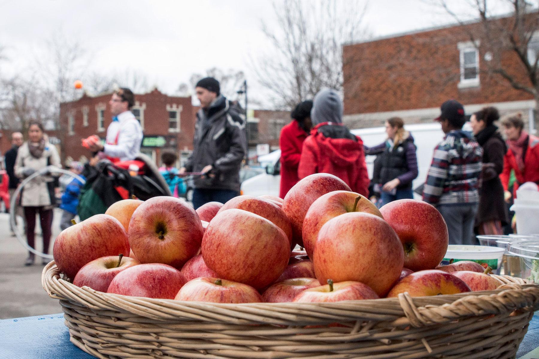 Des pommes pour le Jour de la Terre. Une belle fête de quartier organisée par Ville en Vert dans le Sault-au-Récollet.