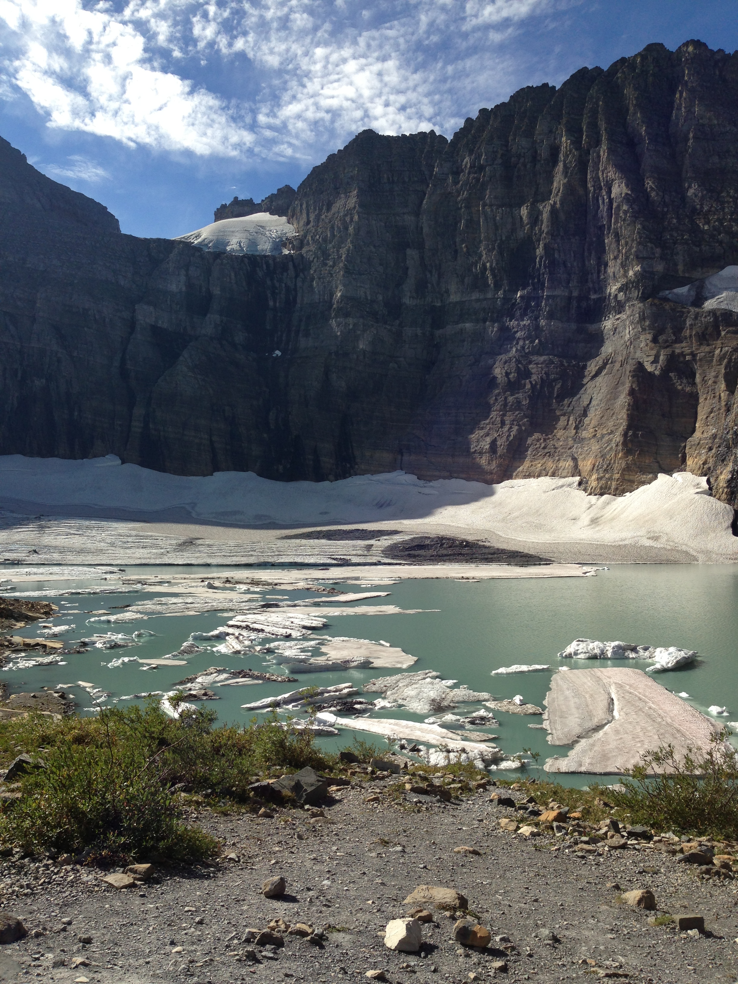 The Glaciers are melting, this is the Grinnell Glacier at the end of the Grinnell Glacier Trail a short distance from Many Glacier Lodge