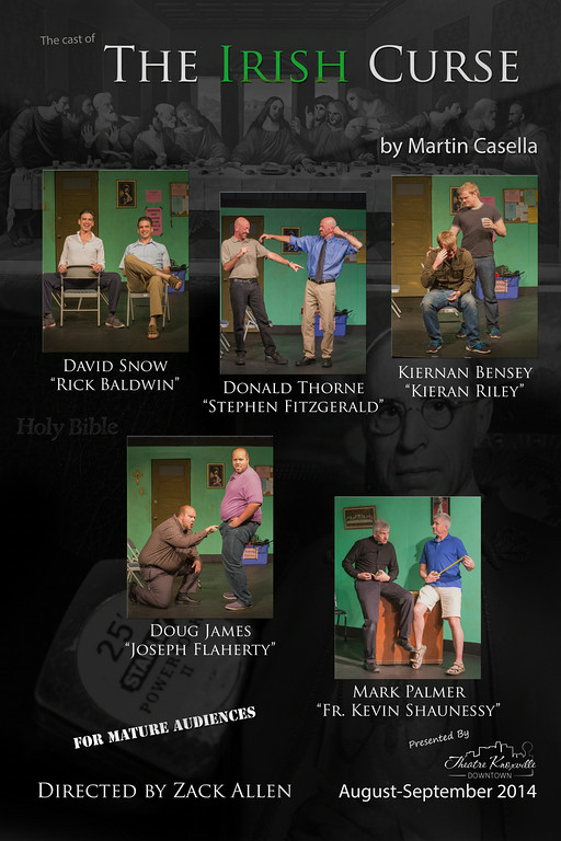 """Cast poster for """"The Irish Curse"""" in Knoxville, courtesy of Theatre Knoxville Downtown"""