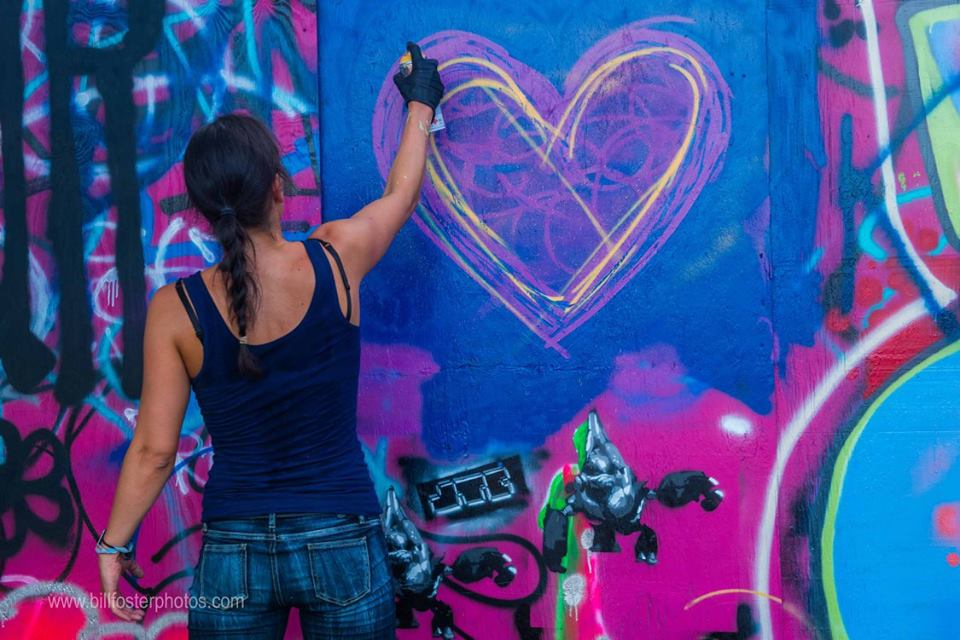Graffiti heart at Bonnaroo 2015, photograph by Bill Foster