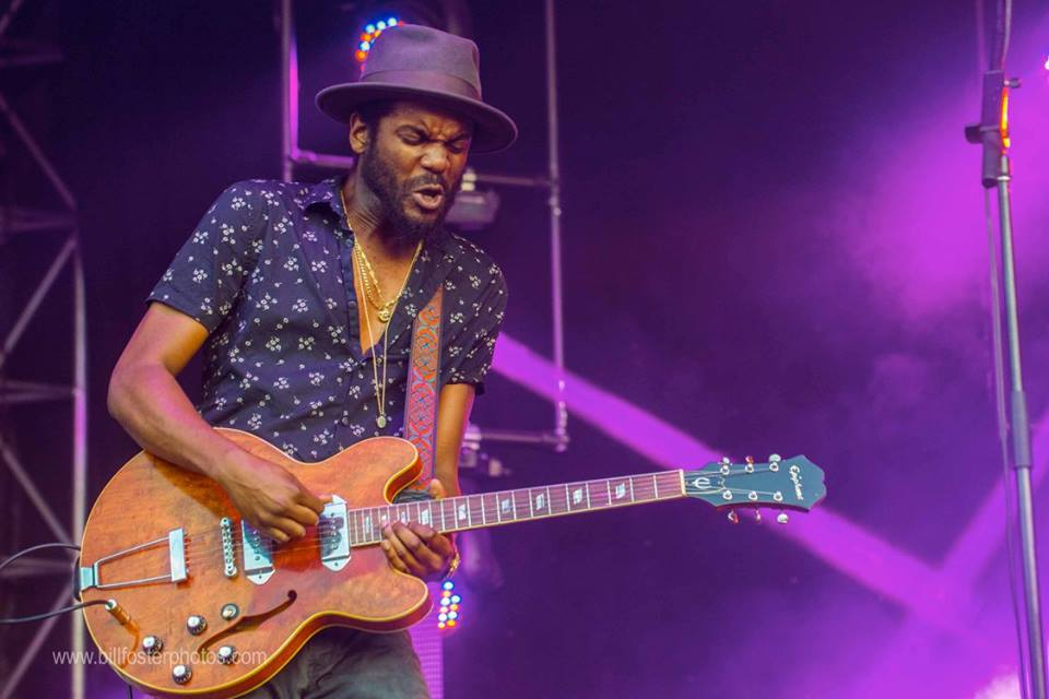 Gary Clark Jr getting downright serious at Bonnaroo 2015, photograph by Bill Foster