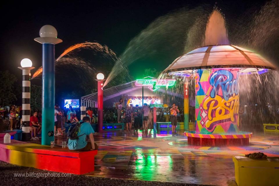 The Bonnaroo Fountain reminding every buddy to Radiate Positivity, at Bonnaroo 2015, photograph by Bill Foster