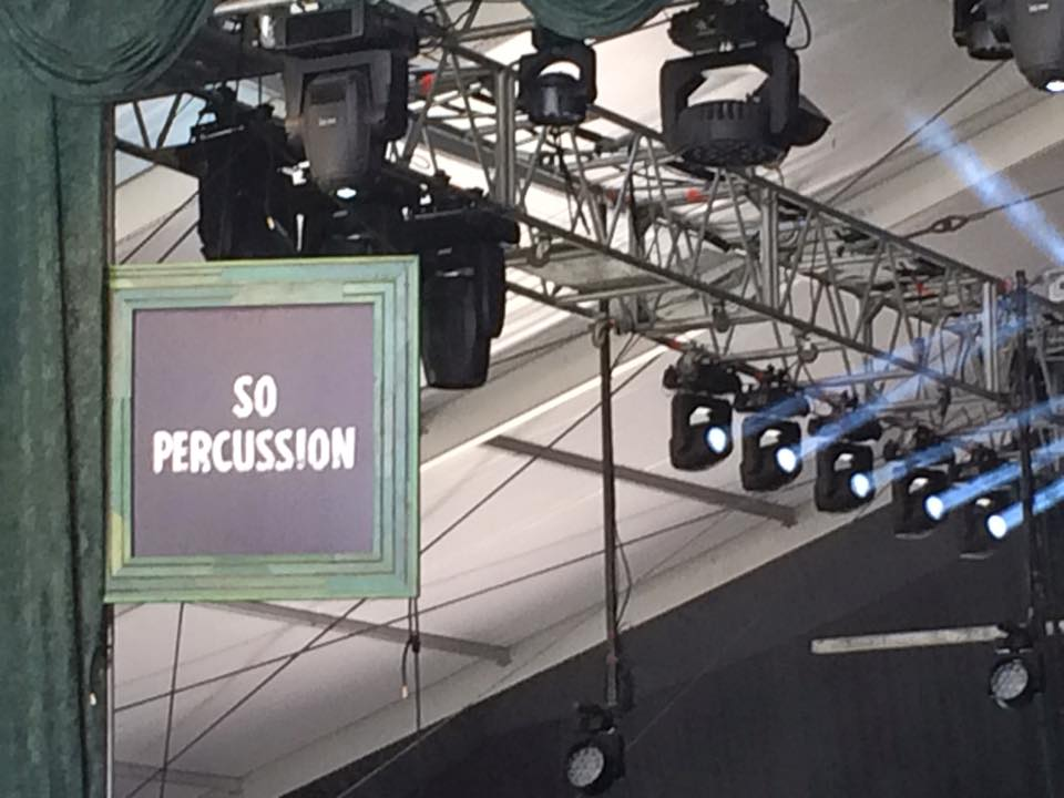 The stage is set for Sō Percussion to take on Bonnaroo 2015, photograph by Pratishtha Singh