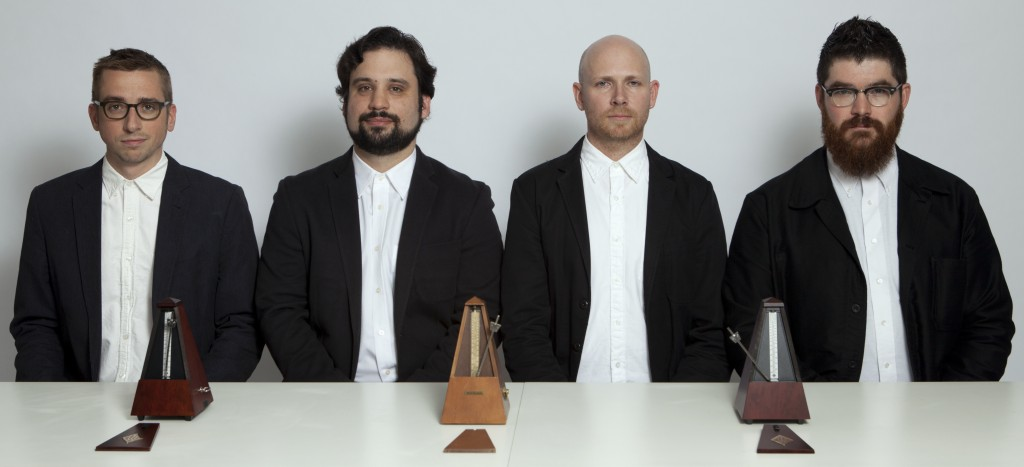 Sō Percussion, from left to right: Eric Cha-Beach, Adam Sliwinksi, Jason Treuting and Josh Quillen, photograph by Janette Beckman