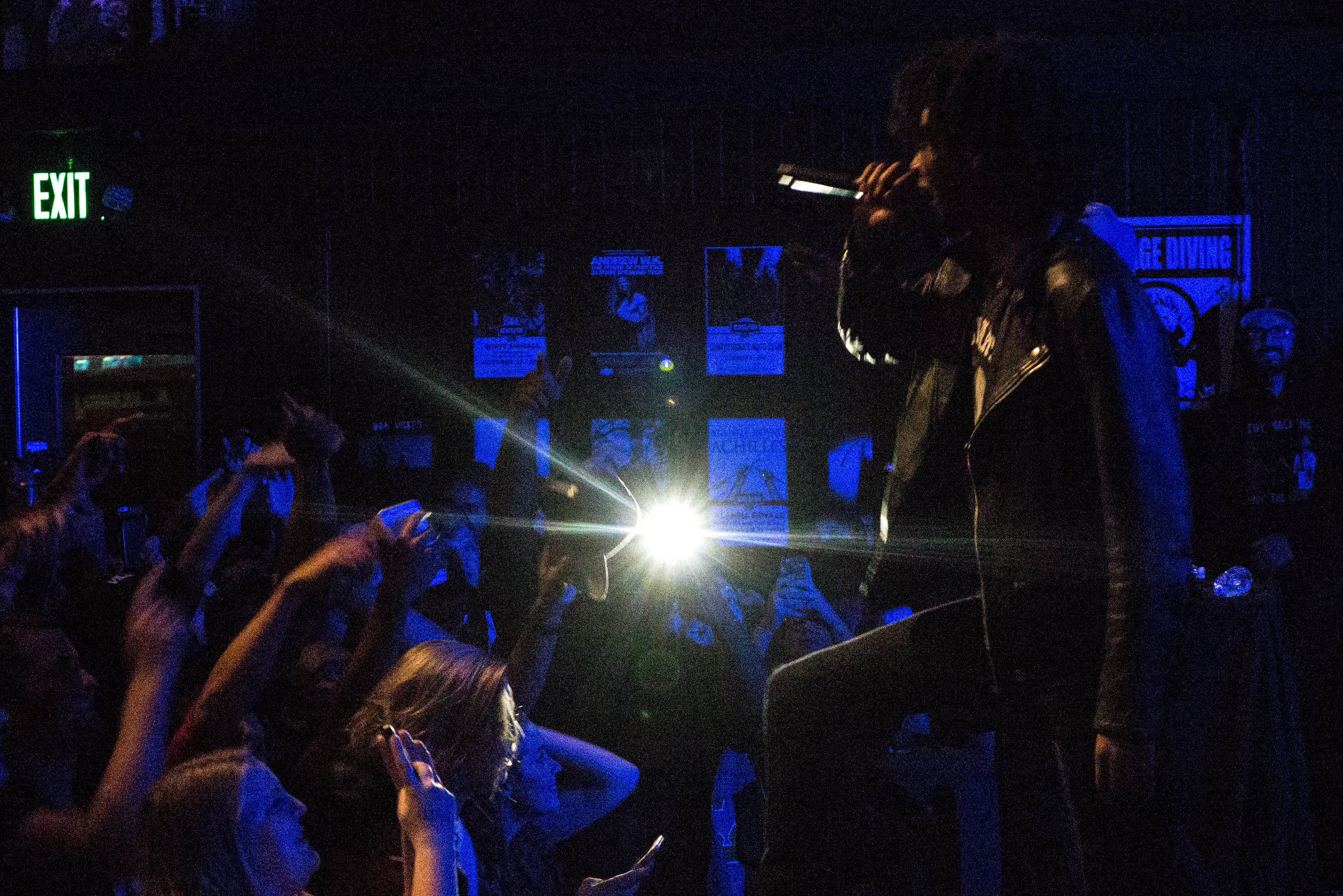 Fans marvel over a high-energy performance from Detroit-born-and-based rapper, Danny Brown. Exhibition Tour (2016), photograph by Joe Nuñez.