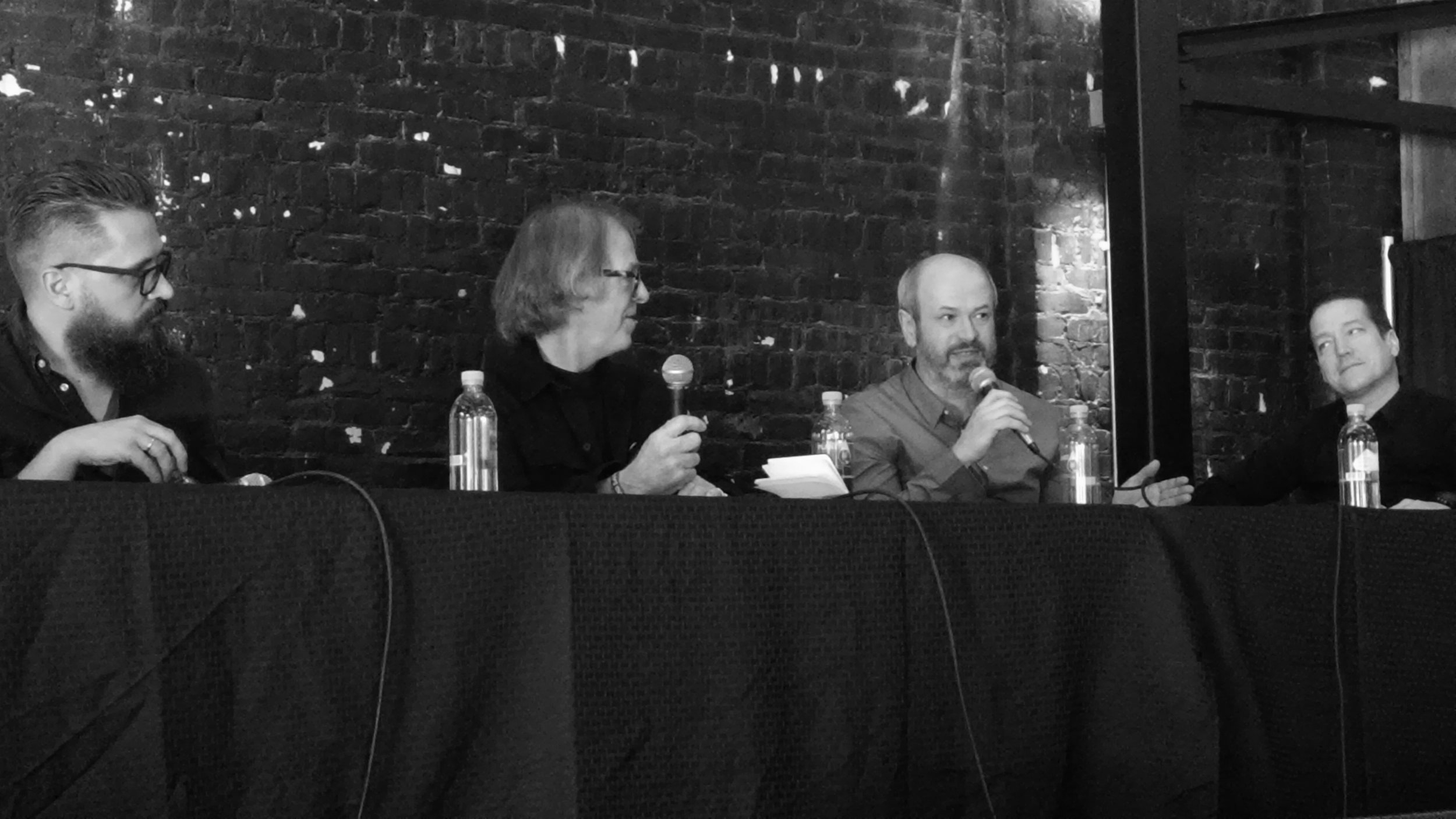 Norwegian Invasion, an artist panel at Big Ears 2017: Nils Økland, Lars Petter Hagen, Jan Ole Otnæs and Helge Sten, photo by Pete Eby
