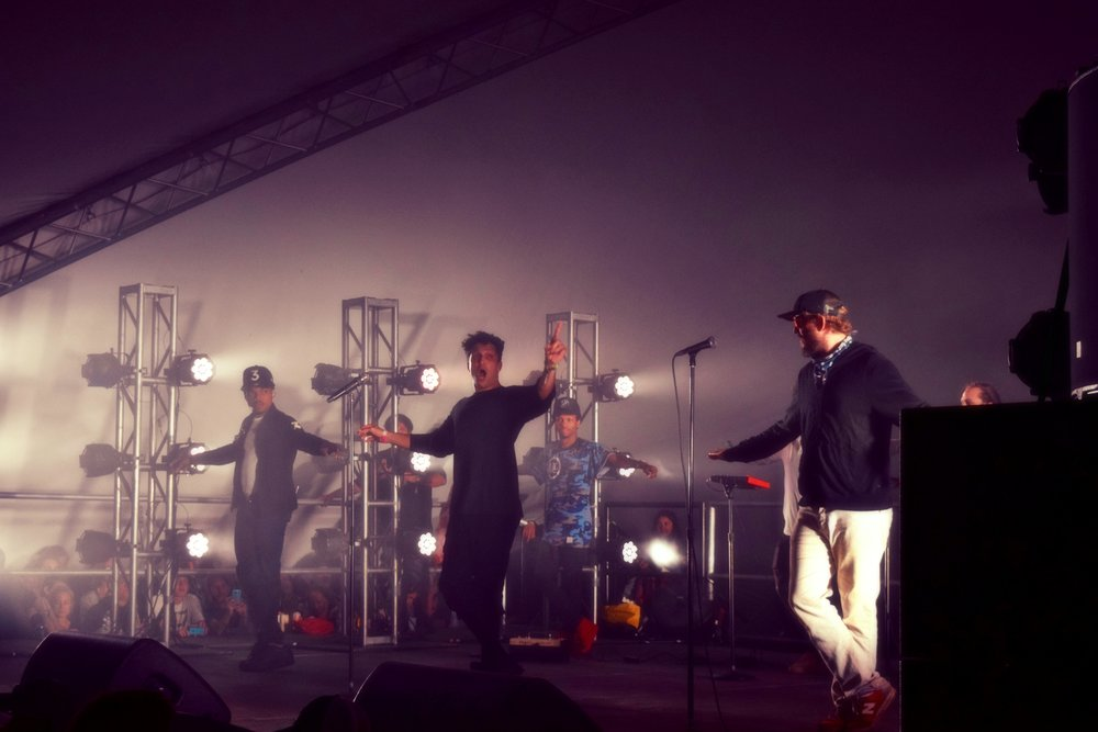 """(Left to right) Chance the Rapper (surprise guest), Francis and the Lights and Justin Vernon perform """"Friends"""" together during Francis's set at Eaux Claires 2016, photograph by Anmol Gupta"""