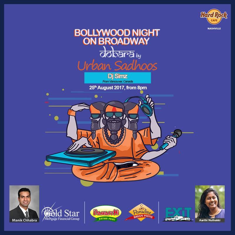 Urban Sadhoos presents Bollywood Night on Broadway at Hard Rock Cafe, image courtesy of Urban Sadhoos