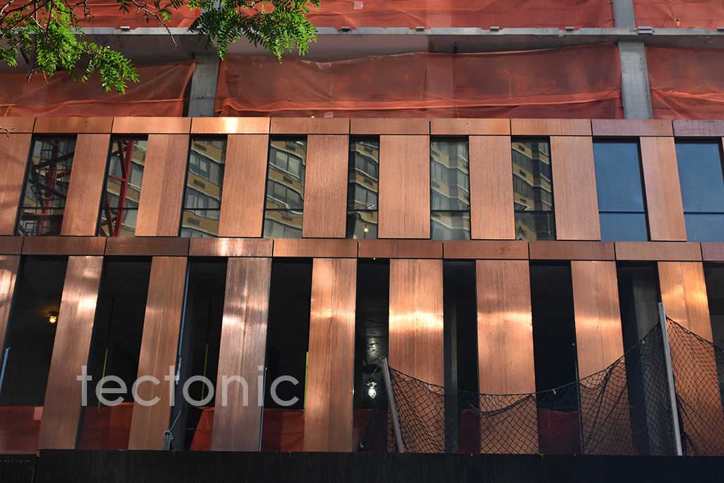Copper facade along East 36th Street