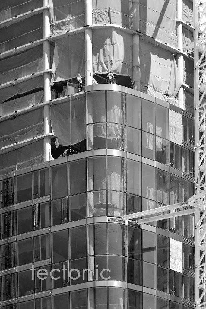 Close-up of the facade installation