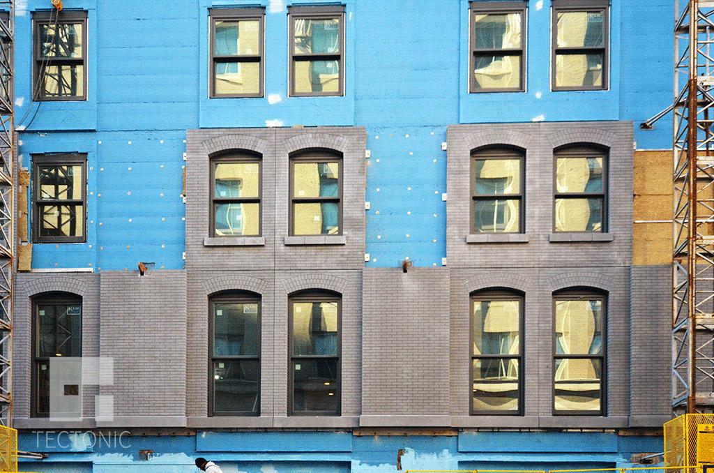 Facade installion in December 2014