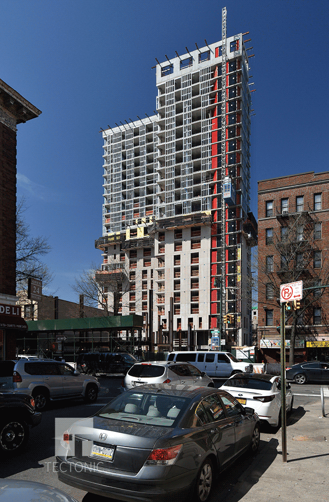 Facade installation in April 2015