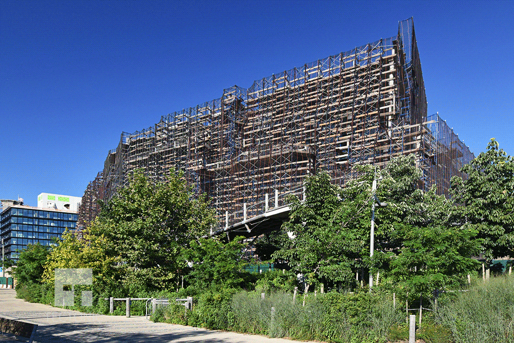 Condo section under construction in July