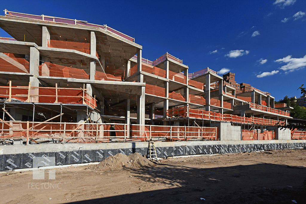 Townhouses under construction at the southwestern end of the site
