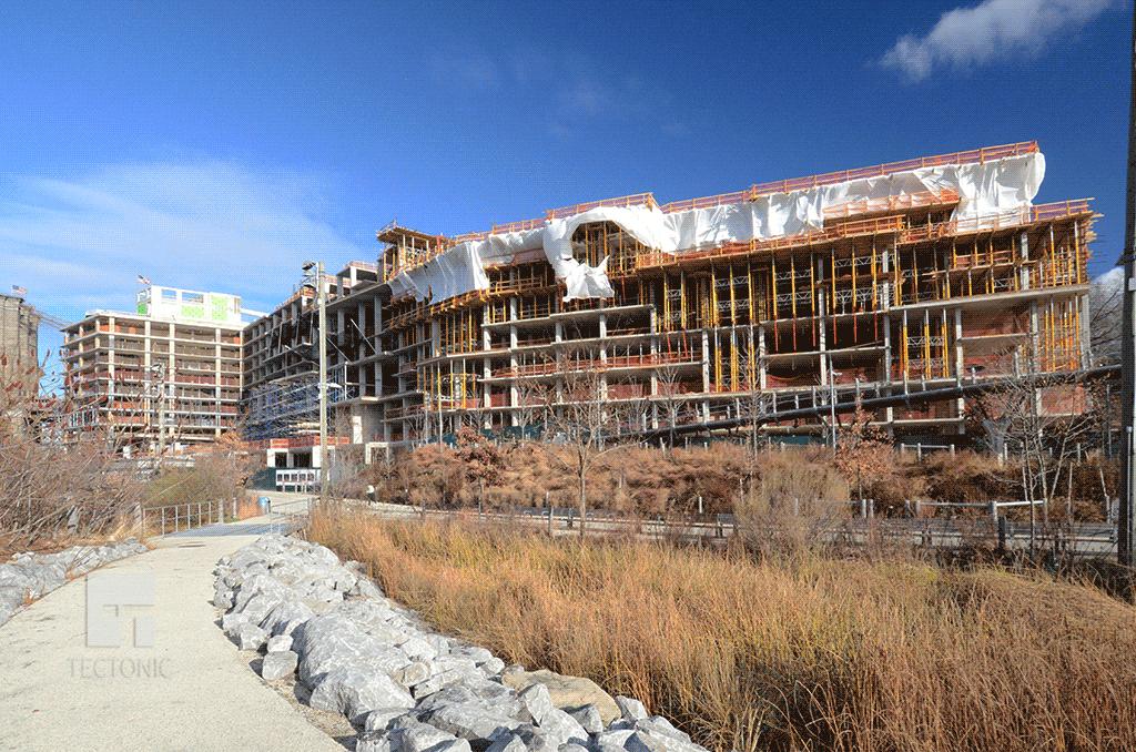 Hotel (far left) and condos under construction in December 2014
