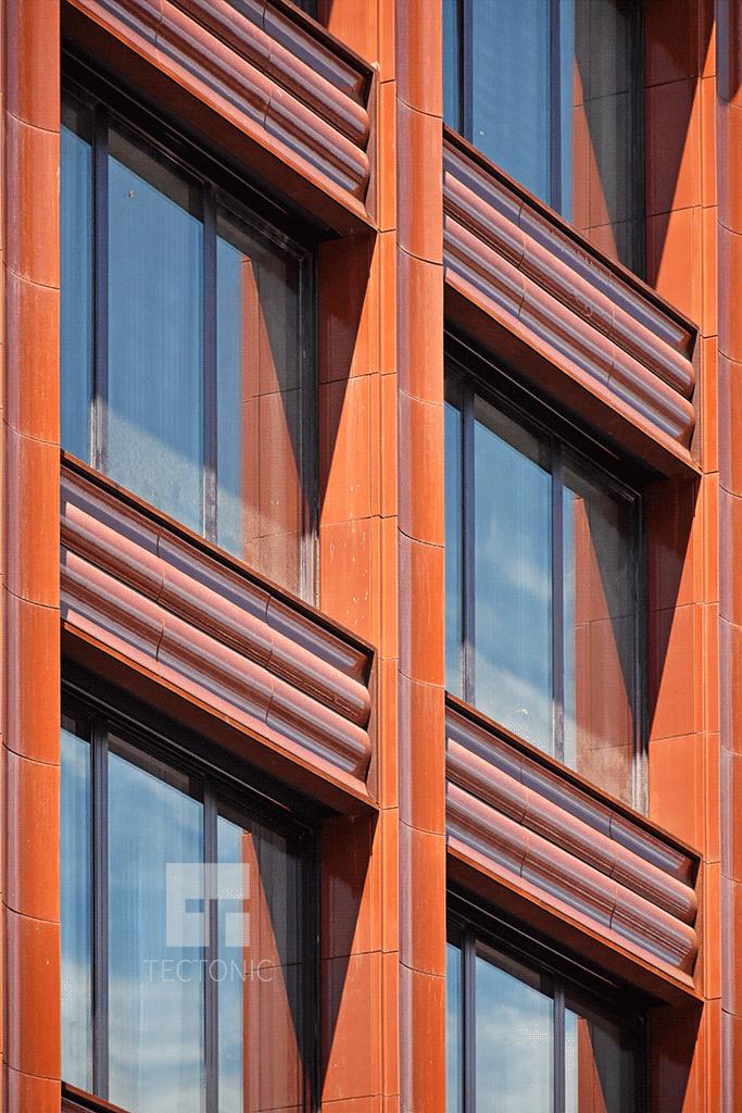 Close-up of the terra-cotta facade