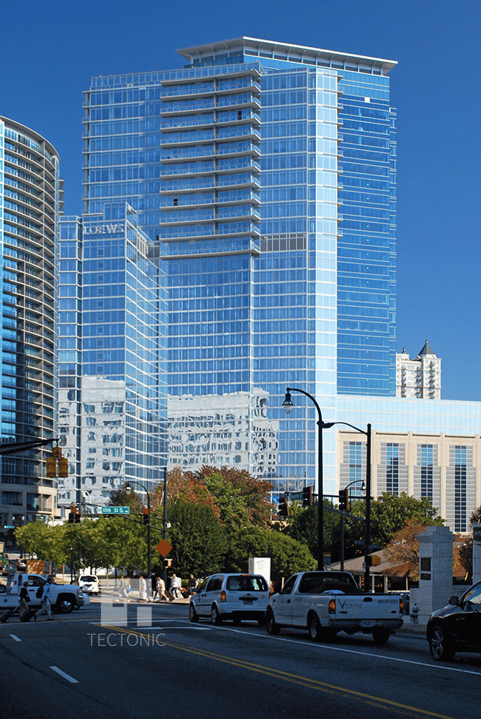 Viewed from the south along Peachtree Street