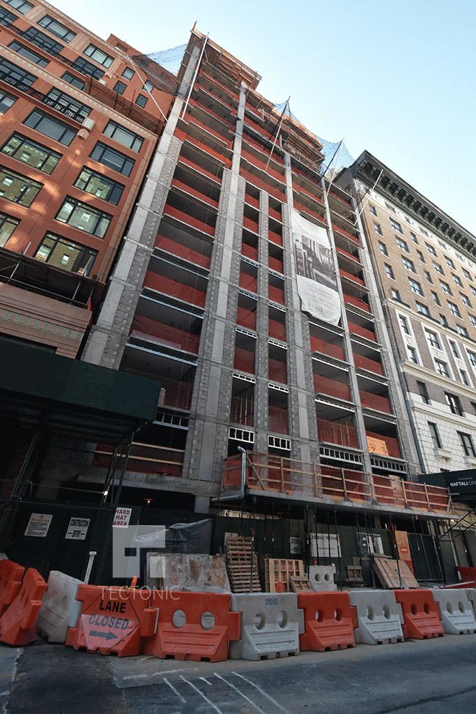 Looking up from West 77th Street