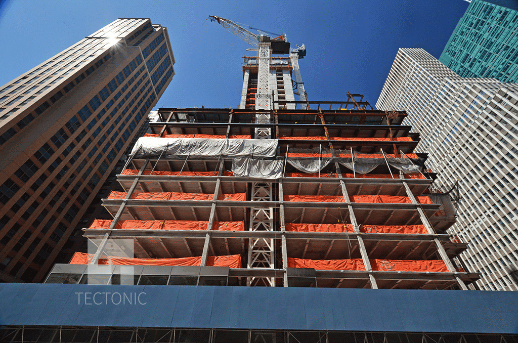 Looking up from 6th Avenue in April 2014
