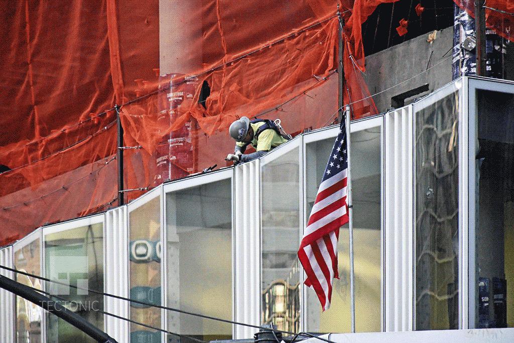 Facade installation along Lexington Avenue