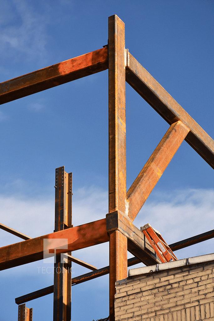 Southwestern corner of the steel frame
