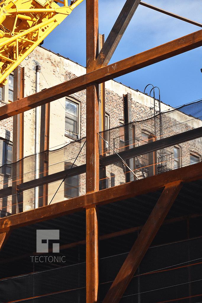Steel frame section along Norfolk Street