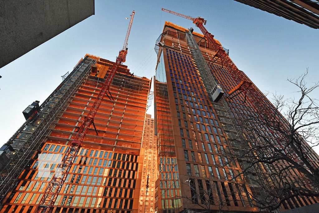 Looking up from East 36th Street