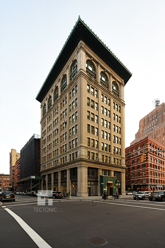 Viewed from the north along Hudson Street