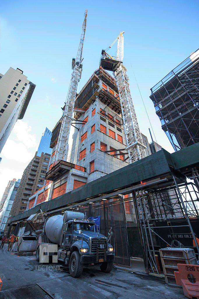 Looking up from West 58th Street