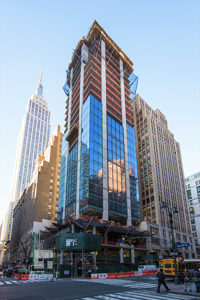 Viewed from East 33rd Street and Madison Avenue