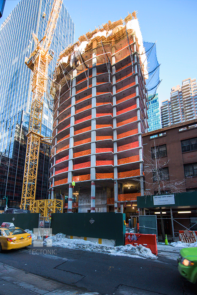Viewed from the south along East 39th Street
