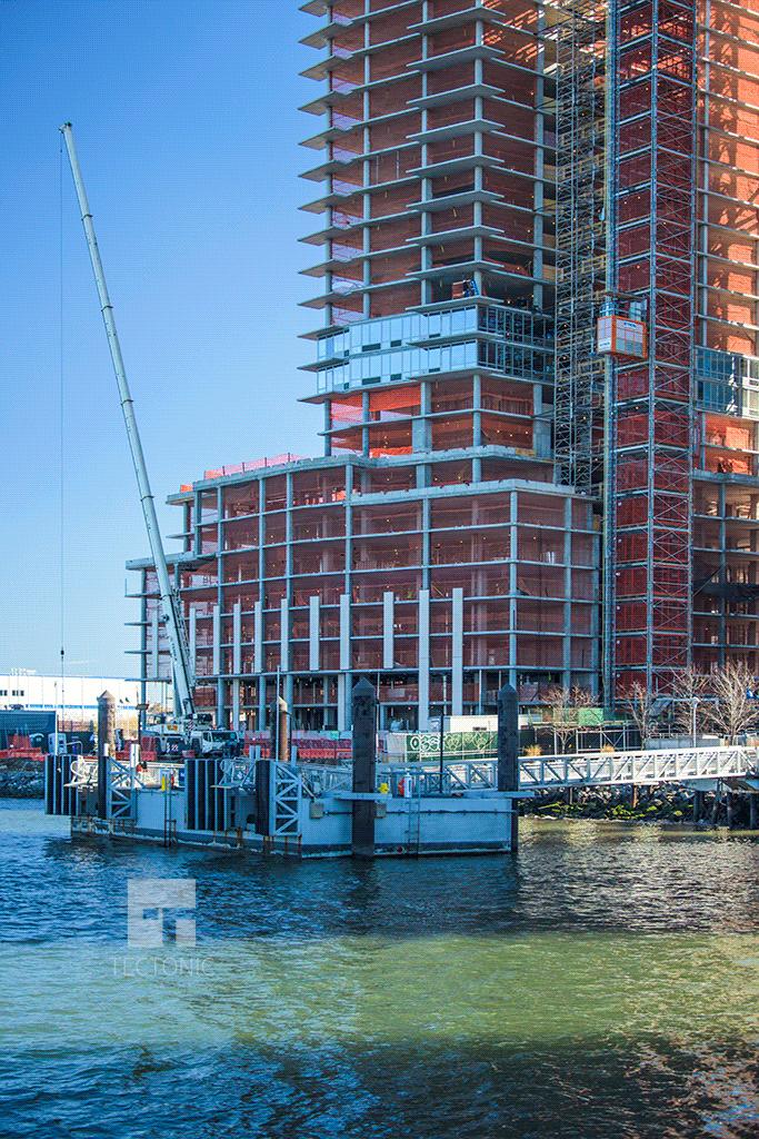 Facade installation along the Williamsburg waterfront