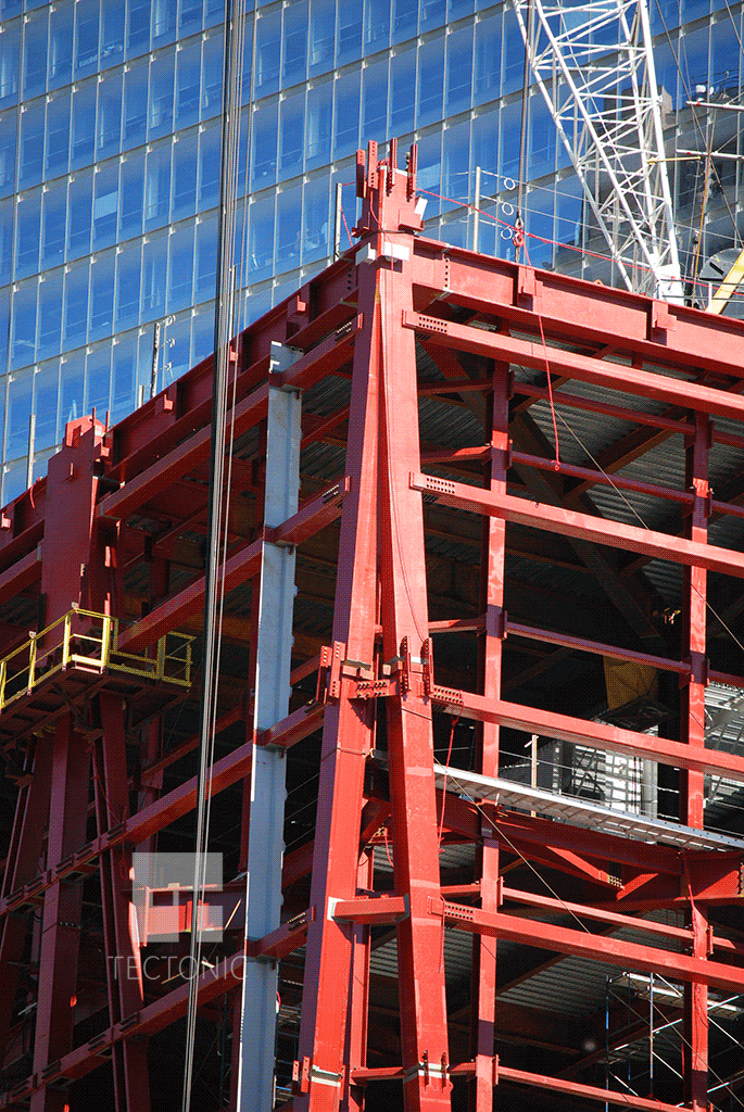Structural steel at the southwestern corner