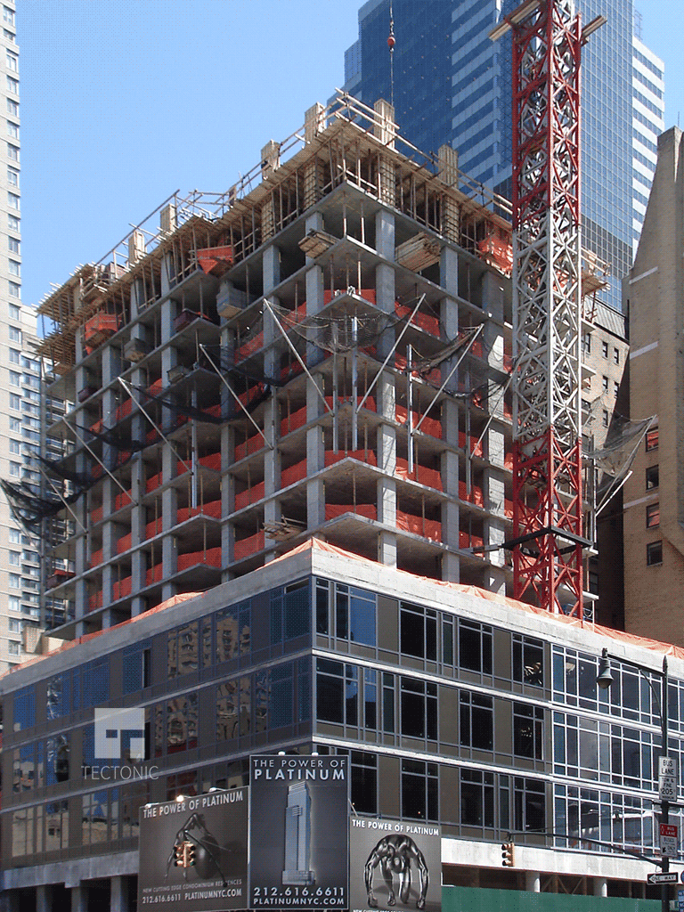 Viewed from 8th Avenue and West 46th Street