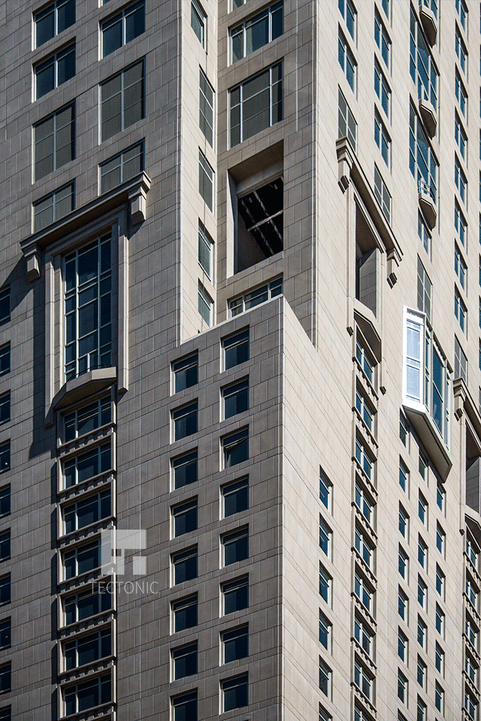 Facade and windows at the western corner